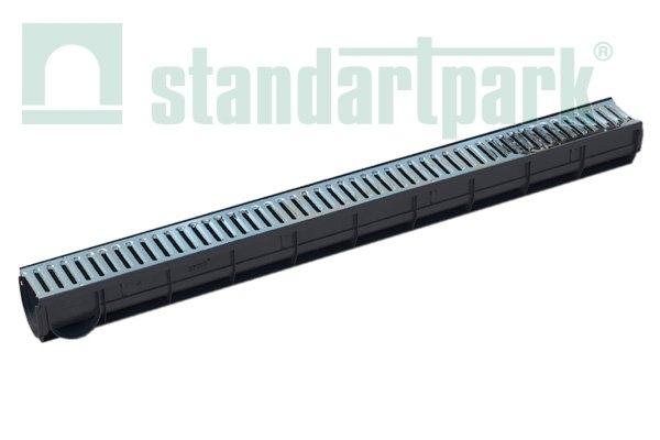 Лоток водоотводный пластиковый Spark cо стальной решеткой кл. А (комплект)