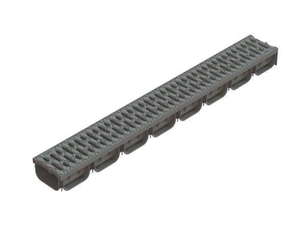 Лоток S'Park пластиковый серый с пластиковой решеткой 1000х125х72 (комплект)