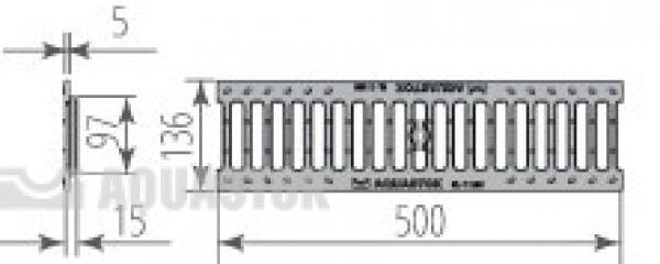 Водоотводная решётка чугунная щелевая DN100