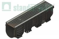Лоток водоотводный пластиковый Polymax Basic с яч. ст. оц. решеткой 0856021 (комплект)